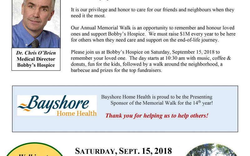 Please Join Us! Hospice Memorial Walk 2018